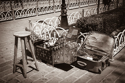 Traditional shoe-polisher's toolkit.