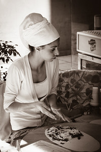 Girl making flatbreads