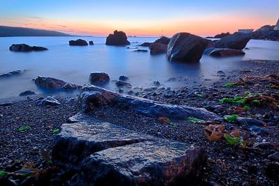 09CW031e Atlantic Beach Cornwall England Rock Sea Dawn