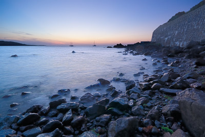 07CW007e Atlantic Ocean Beaches Cornwall England Landscapes Light Rocks Seas Sunrise United Kingdom Water