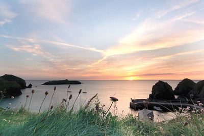 09CW038e Atlantic Beach Cornwall England Rock Sea Dawn