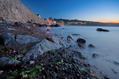 09CW032e Atlantic Beach Cornwall England Rock Sea Dawn