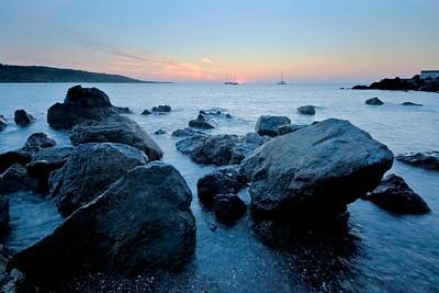 09CW034e Atlantic Beach Cornwall England Rock Sea Dawn