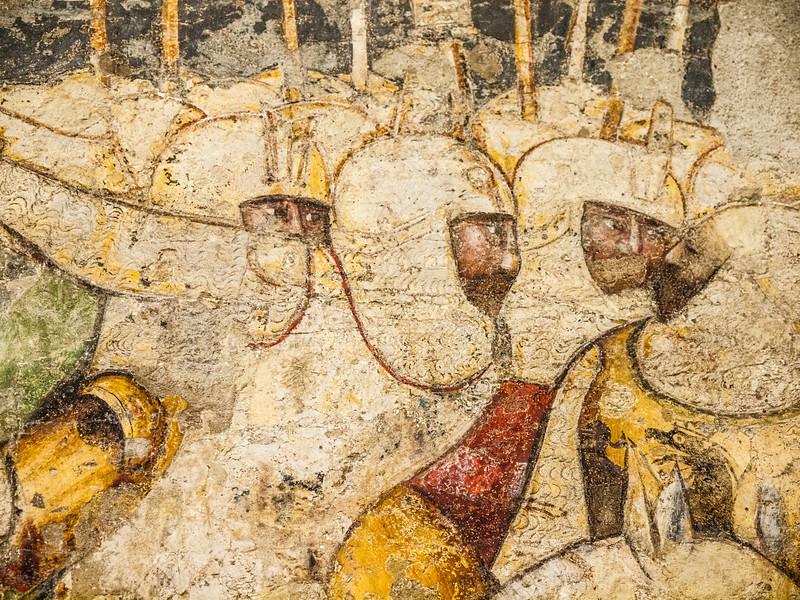 Closeup of famous fresco depicting cavalry at war in the Museum Castelvecchio in Verona, Italy.