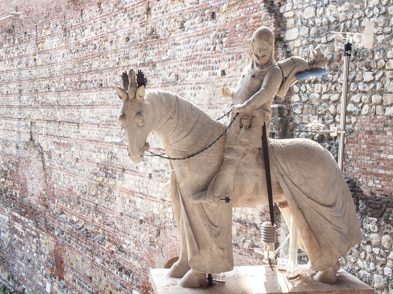 Equestrian statue of Can Grande of the Scala family. Originally these statues were situated on top of their mausoleums and now placed in topic position inside the castle.  After 7 centuries they still seem to dominate with their presence the atmosphere of this place.