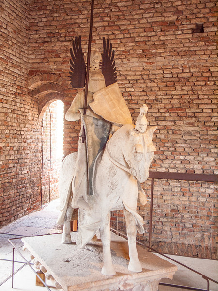 Equestrian statue of Mastino II of the Scala family. Originally these statues were situated on top of their mausoleums and now placed in topic position inside the castle.