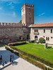 Interior and tower view at the Castelvecchio Museum (Italian: Museo Civico di Castelvecchio), a museum in Verona, northern Italy, located in the eponymous medieval castle.