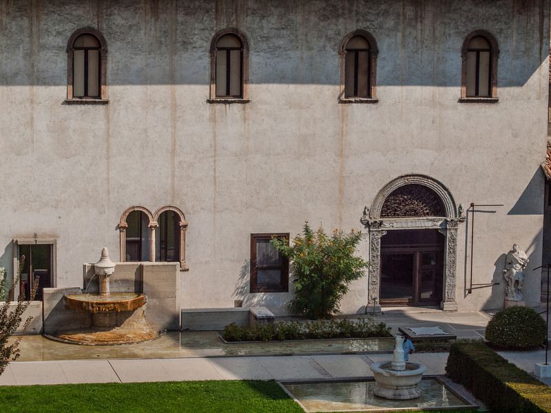 Interior courtyard view at the Castelvecchio Museum (Italian: Museo Civico di Castelvecchio), a museum in Verona, northern Italy, located in the eponymous medieval castle.