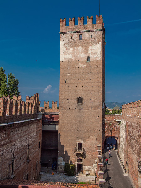 Castle tower at the Castelvecchio Museum (Italian: Museo Civico di Castelvecchio), a museum in Verona, northern Italy, located in the eponymous medieval castle.