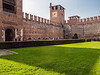 "Interior yard at the Castelvecchio Museum (Italian: Museo Civico di Castelvecchio), a museum in Verona, northern Italy, located in the eponymous medieval castle.  <br /> <br /> The superb structure of Castelvecchio (literarily ""Old castle"") houses one of the most interesting museum, not only in Italy, but in the whole Europe, known both for the interesting art collections that are exhibited there and also for the historical and architectural value of the building. <br /> <br /> Castelvecchio was built in 1355 by the Scala family, the ruling family of Verona in the middle age and was successively modified by future invaders such as Venetians, the French and the Austrians. During the second world war Castelvecchio witnessed the dramatic Verona trial (Processo di Verona), in which Mussolini condemned to death the traitors of the regime together with his own son in law."