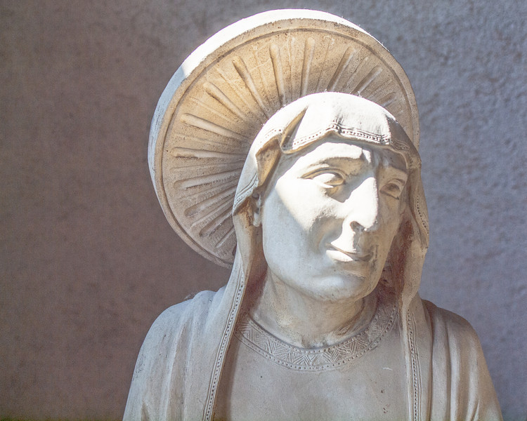 """Closeup of one of the statues in the three statue collection, """"The Crucifix and the Weepers"""".  Museo Civico di Castelvecchio, Verona, Italy, September 25, 2011."""