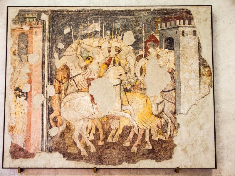 Famous fresco depicting cavalry at war in the Museum Castelvecchio in Verona, Italy.