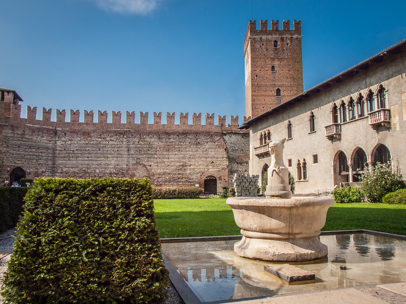 Interior courtyard of the Castelvecchio Museum (Italian: Museo Civico di Castelvecchio), a museum in Verona, northern Italy, located in the eponymous medieval castle.