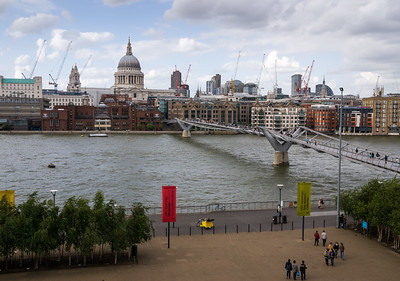 view onto St. pauls cathedral, the millenium bridge and the london skyline. seen from the modern Tate