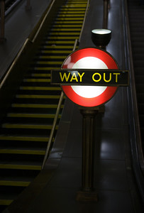 a way out or exit sign in the london underground/subway/metro, uk