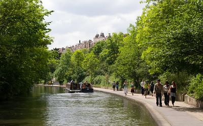 along a channel in london, summertime
