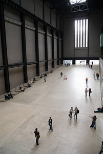 inside the entrance hall of the modern tate, london, uk