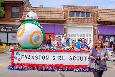 Evanston Girl Scouts and their newest member, BB-8