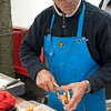 Shucking scallops, City Market, Haarlem, Holland