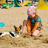Little Dutch Girl and dog, Thalassa Beach, Holland
