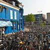 Bicycles at train station in Delft, Holland
