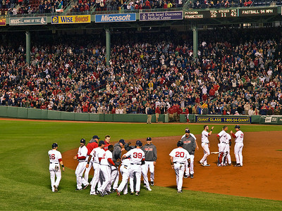 The celebration ensued after newcomer Darnell McDonald again played the hero, driving in the winning run in the bottom of the ninth for a walk-off Red Sox victory over the visiting Texas Rangers.