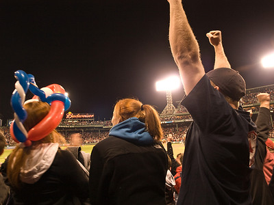 Fan jubilation when Darnell Mcdonald, in his first Red Sox at bat, homered over the Green Monster to tie the game at 6-all in the bottom of the eighth inning.