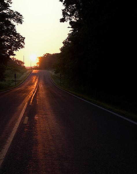 Flint Hills Sunrise country road.