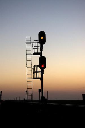 Flint Hills Sunrise train lights.