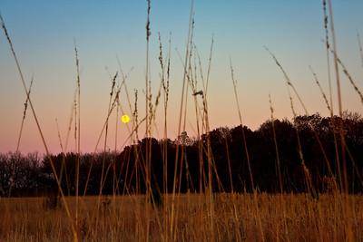 Flint Hills Farm -- Evening with Full Moon