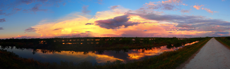 Sunset panorama<br /> Biolab Road<br /> Merritt Island NWR, Florida<br /> December 2012