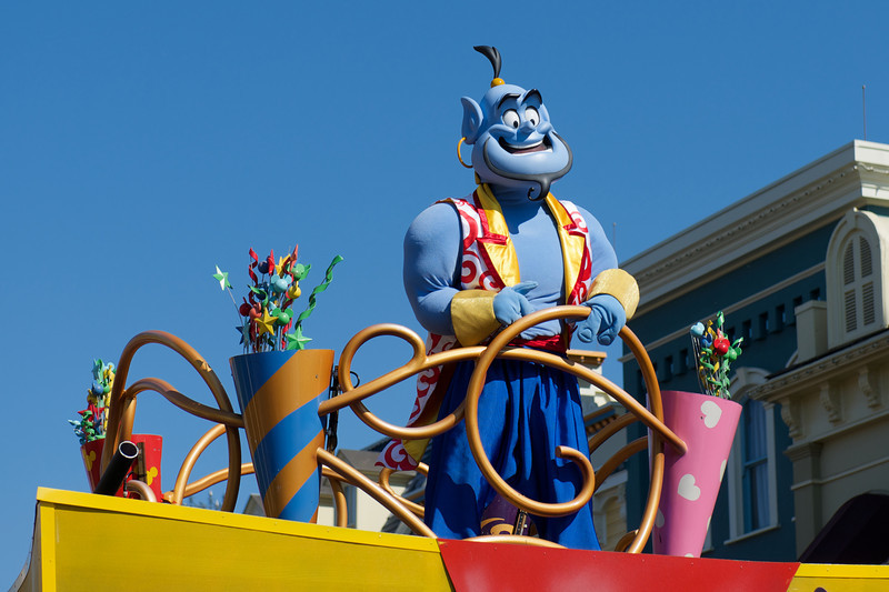 The Genie atop his float