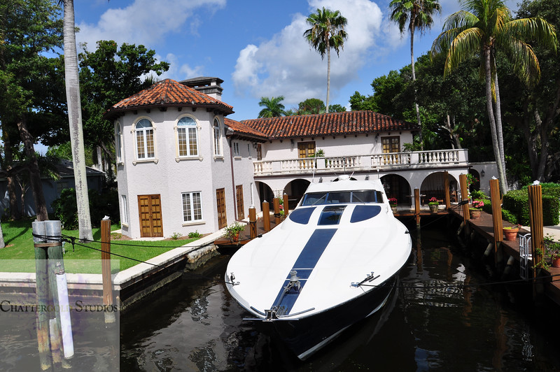 Fort Lauderdale Mansion with Yacht .  This Image is © Tricia Chatterton Goldrick/Chattergold Studios.  All Rights Reserved.  No duplication without permission (see commercial downloads).  This image may be downloaded from this website for blogging purposes only.