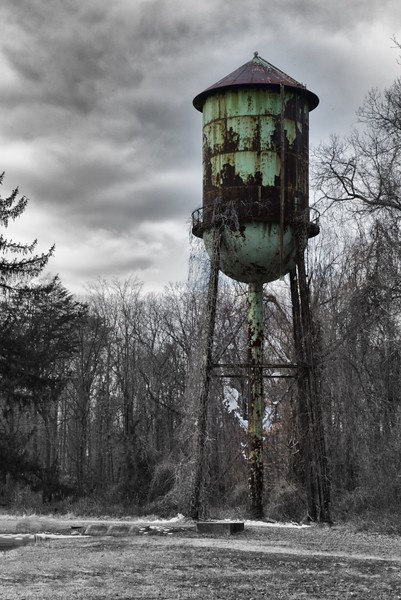 The old water tower.  I converted all but the tower itself to B&W.