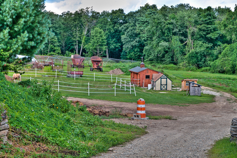 Horse paddock, stalls and old farm equipment.