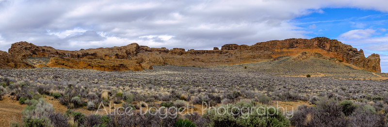 Panoramic view inside Fort Rock State Park, South Central Oregon