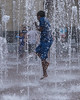 Kids playing in fountains in Sundance Square