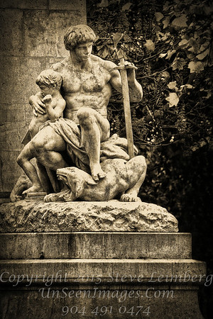 Statue of Man and Boy - Paris - Copyright 2016 Steve Leimberg - UnSeenImages Com _H1R1937