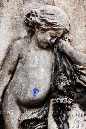 Desecrated Tombstone Paris - Copyright 2016 Steve Leimberg - UnSeenImages Com File0720