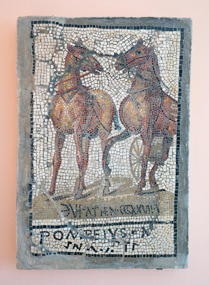 Ancient Pompeian Mosaic Horses