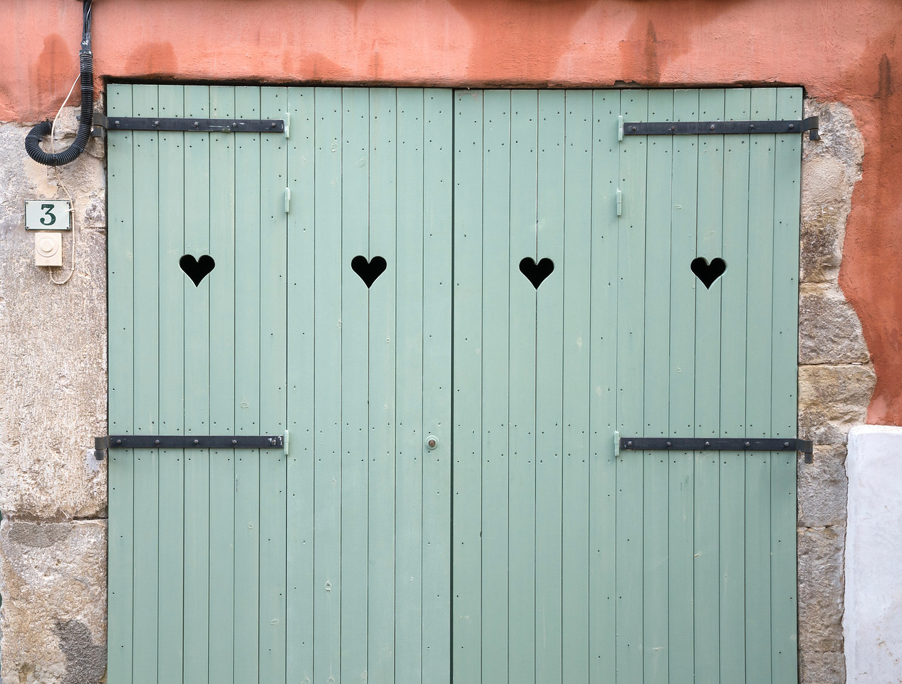 Green Doors with Hearts