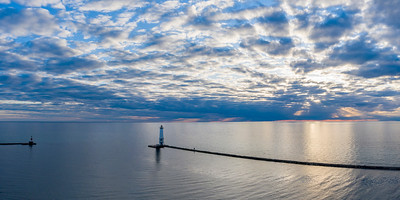 Frankfort Lighthouse and Sky Aerial