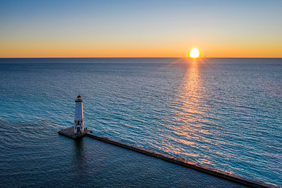 Sunset over Frankfort Lighthouse Aerial