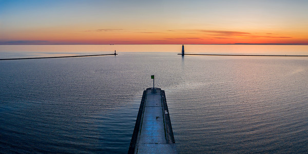 Frankfort Breakwall Sunset