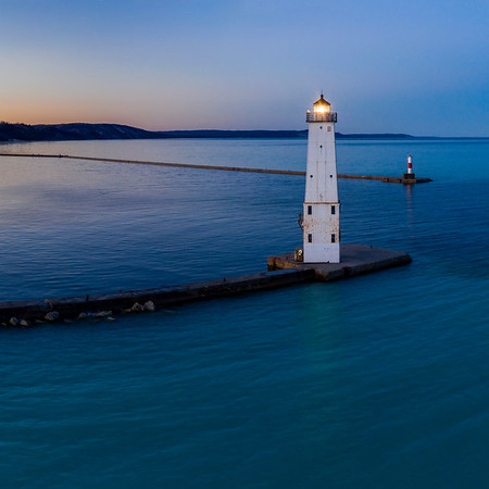 Frankfort Lighthouse Dawn Aerial