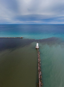 Frankfort Lighthouse Evening Aerial