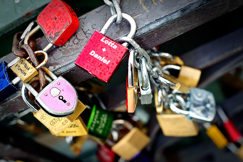 Love locks at the Eiserner Steg<br /> <br /> Very romantic stuff ... wonder how many of these are german vs tourists???