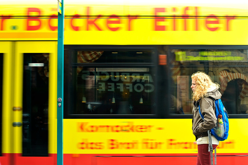 Not very excited ... <br /> <br /> ... around the Romer area in Frankfurt (taken from starbucks reflected on the train)