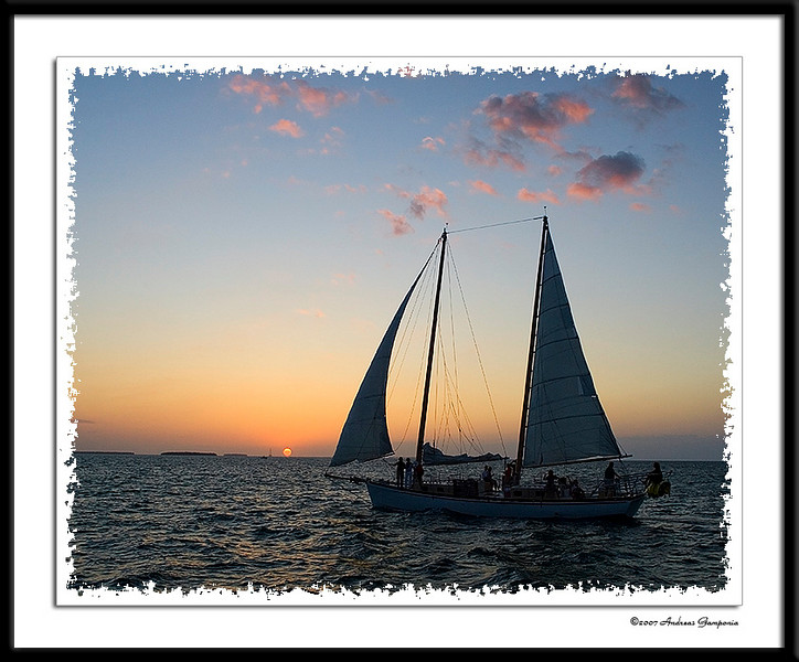 Sailing into the sunset.  Ahhh....one only needs a little Jimmy Buffet music, Margaritaville and some great company and the day is complete...