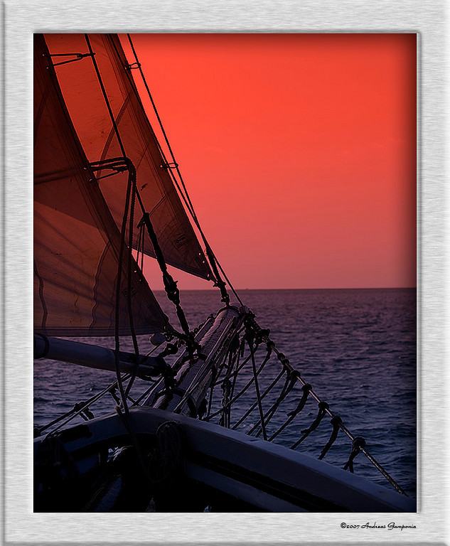 Red sky at night; sailors delight,<br /> Red sky in the morning; sailors warning<br /> <br /> I sailed an ocean, unsettled ocean <br /> Through restful waters and deep commotion <br /> Often frightened, unenlightened <br /> Sail on, sail on sailor
